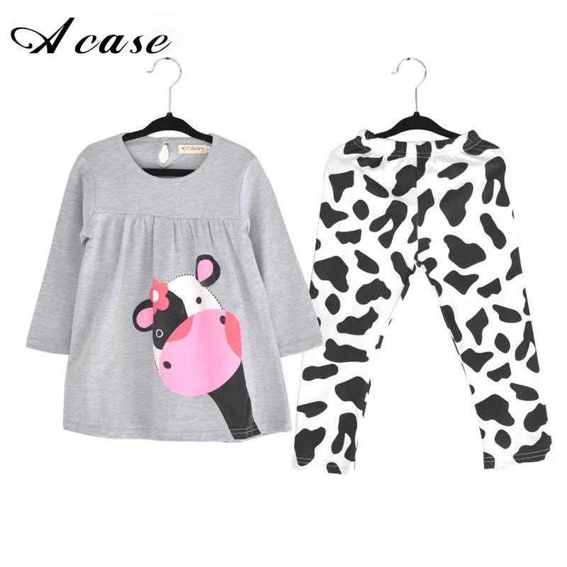 2018 New Spring Autumn Baby Girl Clothes Casual Long-sleeved Grey T-shirt + Pants Newborn Suits Cute Cow Pattern Pajamas Outfits