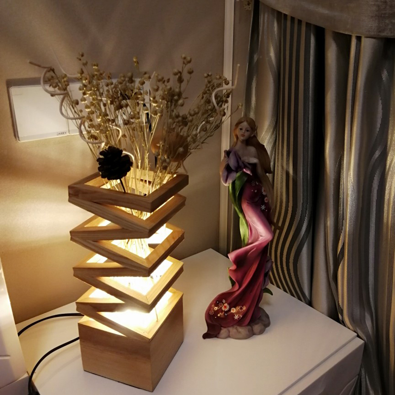 US $123.25 15% OFF|Contemporary Table Lamps Bedroom Study led Desk Light  Wedding Flower Arrangement Table Light Office Art Gift led Table Lamp  Wood-in ...