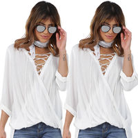 Women Lace Blouse White Loose Tops Blouse Deep V Neck Clothes New Women Lady Clothing Tops Long Sleeve Casual