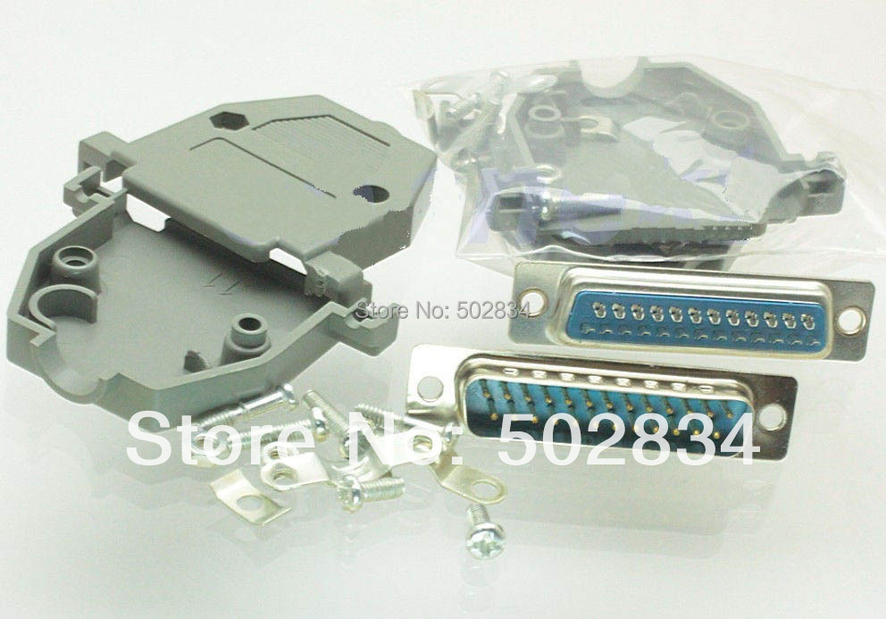 DB25 Male Solder D Sub Connectors /& Grey Plastic Hood//Cover,NEW
