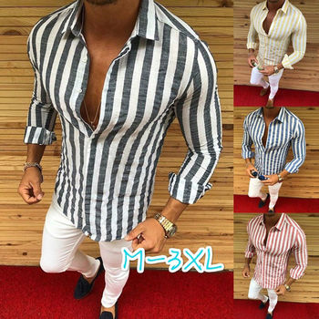 3472cefb7f9 Мужская деловая рубашка Для мужчин платье в полоску дизайнер Повседневное  Роскошные Рубашки Рубашка Regular Fit