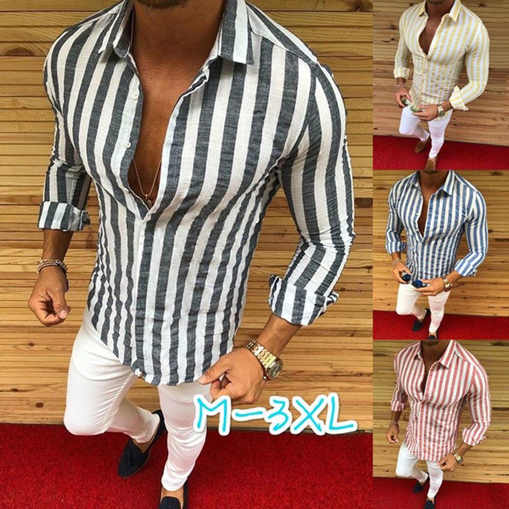 Hot Sale Mens Formal Shirt Men Striped Dress Designer Casual Luxury