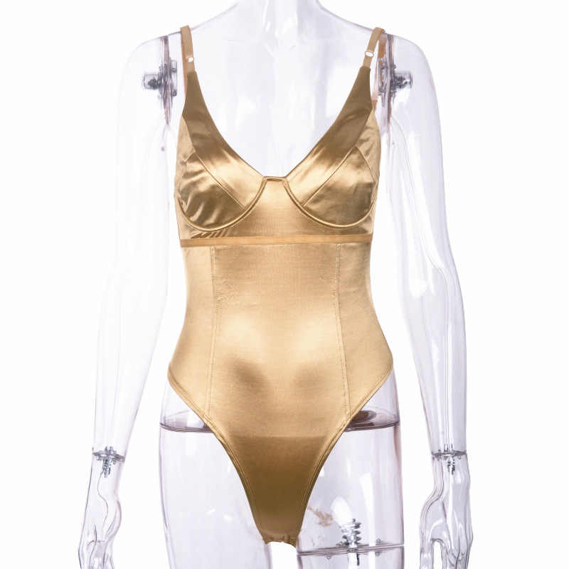 Пикантные Для женщин сатиновый костюм комбинезоны Глубокий V спинки Слинг купальный костюм с шортами Женское боди Longue комбинезоны CatPlaysuit знаменитости