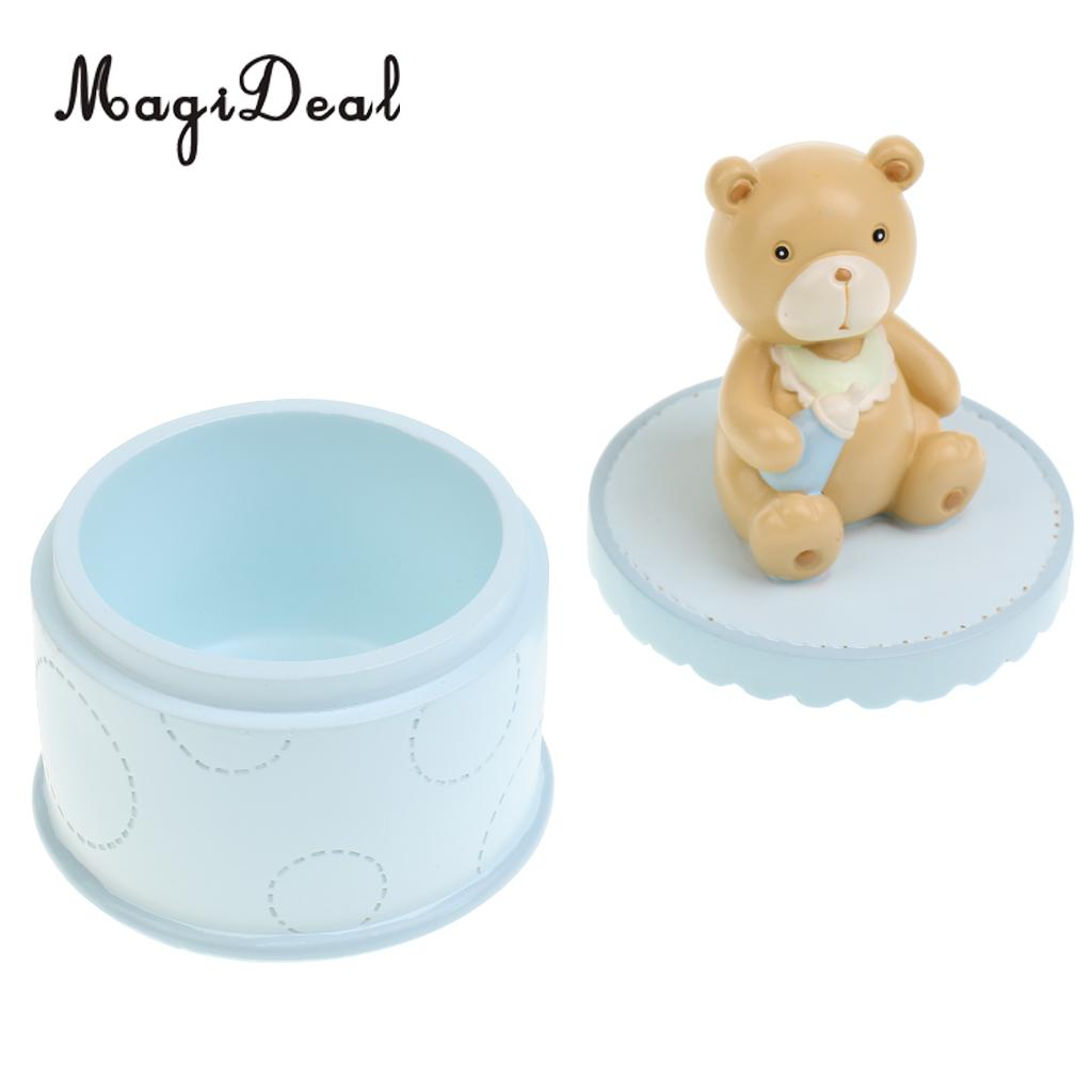 Curl Keepsake Kids Room Decor Cute Resin Bear Trinket Box Baby/'s First Tooth