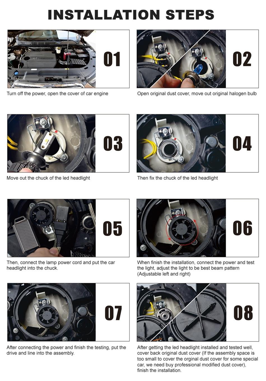Infitary 2 шт. COB Чип автомобильная светодиодная головная светильник H4 H7 H1 H3 H11 H13 9004 9005 9006 9007 лампы 10000LM 3000K 4500K 6500K мини авто светильник
