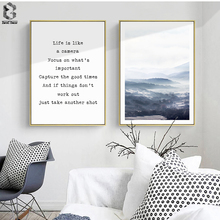 Nordic Landscape Wall Art Poster and Print Forest Canvas Paintings Quote Pictures for Living Room Decoration