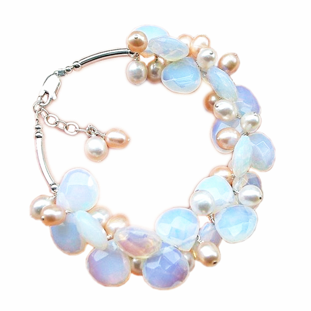 Wholesale Exquisite Moonstone Crystal Faceted Teardrop Shape Fresh Water Pearl Bracelet 7.5inches