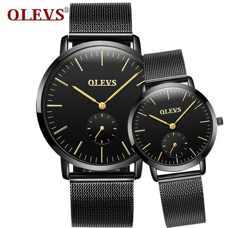 OLEVS Simple Lovers Quartz Watch Ultrathin Dail Men/Women Waterproof Wristwatches Leather Watchbands Couple Clock Watches 5871G carnival fashion simple couple watch men women quartz wristwatches ceramic waterproof calendar lovers watches relogio masculino