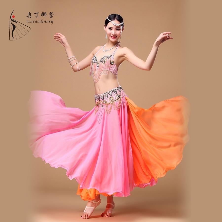Popular Series 2018 Women Belly Dance Skirts Contrast Colors Side Split Full Circle Long Belly Dance SkirtChiffon WJ00081+Q00586