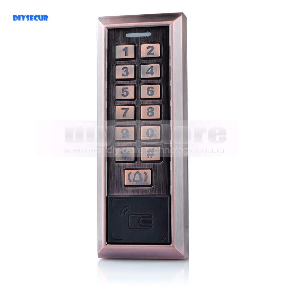 DIYSECUR Metal 125KHz RFID Card Reader Password Keypad Access Controller + Door Bell Button usb pos numeric keypad card reader white