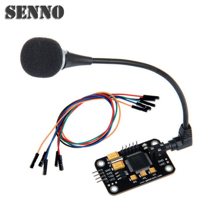 цена на Voiceprint Recognition Module With Microphone Dupont Jumper Wire Speech Recognition Voice Control Board For Arduino Compatible