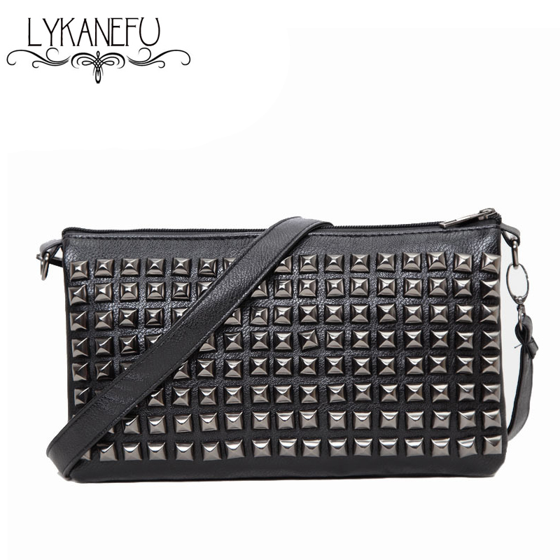 2017 New Black Bag Women Messenger Bags Rivet Small Crossbody Bag Clutches Fashion Bolsas Femininas Dollar Price