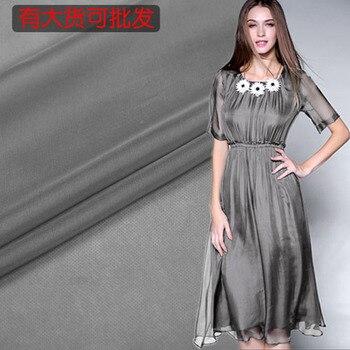 Gray silk chiffon fabric summer perspective silk fabric for dress tulle fabric natural silk fabric wholesale silk cloth