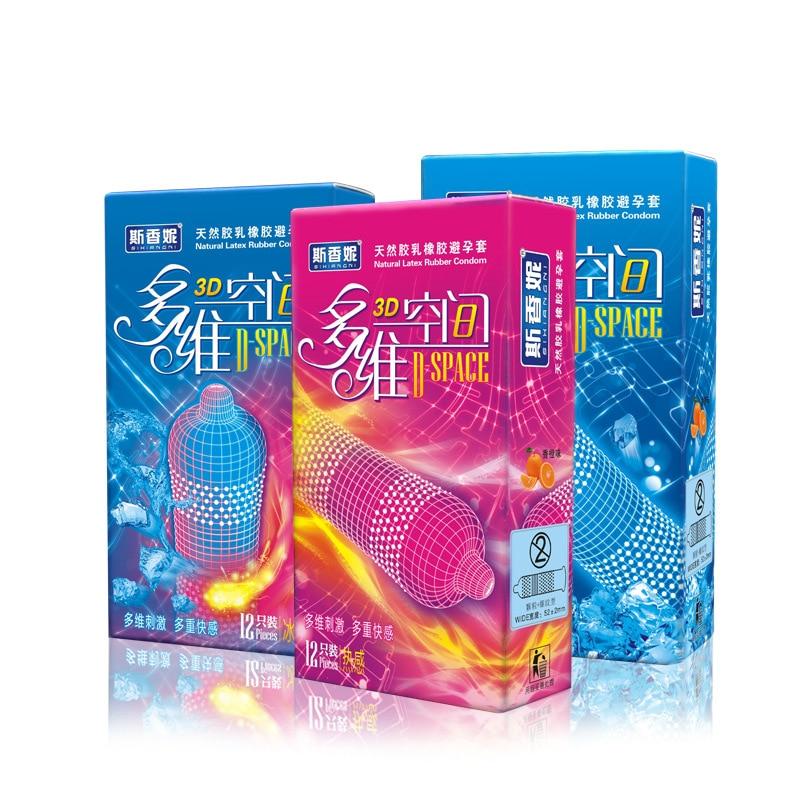12 pcs Hot SXN espaço 3D pico preservativo gelo estilo quente g spot preservativos para homens preservativo camisinha tolera sexe varejo pacote