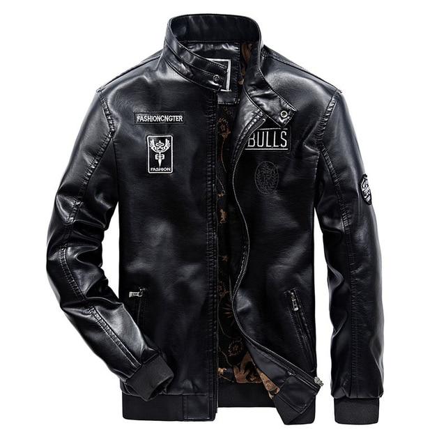 New Men's Leather Jacket Winter Designer Stand Collar Plus Size PU Black Moto Jacket Coat Men Leather Biker Jacket 3XL D8F5582 Men Leather Jacket