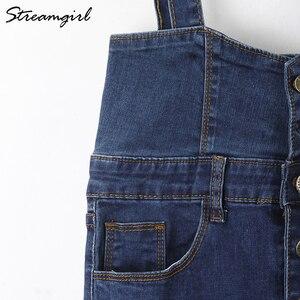 Image 4 - Streamgirl ロングデニムスカートとストラップ女性ボタンジーンズスカートプラスサイズロングハイウエストペンシルスカートデニムスカートレディース