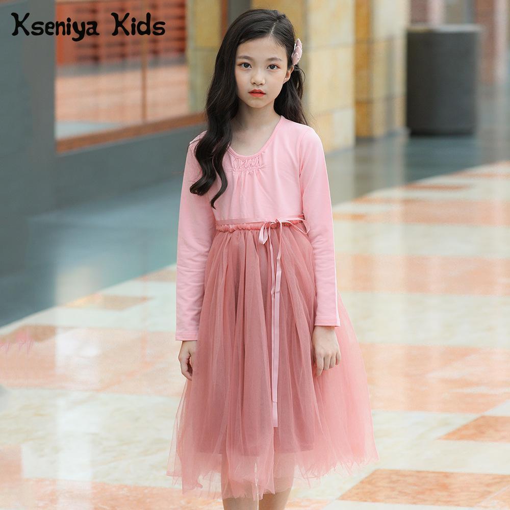 Kseniya Kids Teenagers Big Girls 2018 Spring And Autumn Lace Princess Sweet And Cute Kids Dress Long Sleeve Dresses