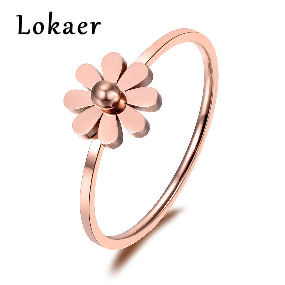 Lokaer Simple Daisy Ring Stainless Steel Jewelry Rose Gold Color Cute Style For Girl Christmas/new Year Gift R18138