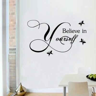 Лидер продаж 2016 года Believe in yourself цитаты Главная Наклейка Виниловые Стикеры современные украшения дома детская комната Настенный декор