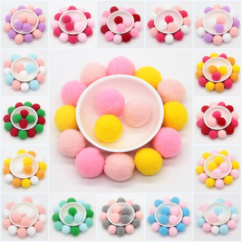 30mm Mixed color Pompom Kids Toys Craft DIY Soft Pom Poms ...