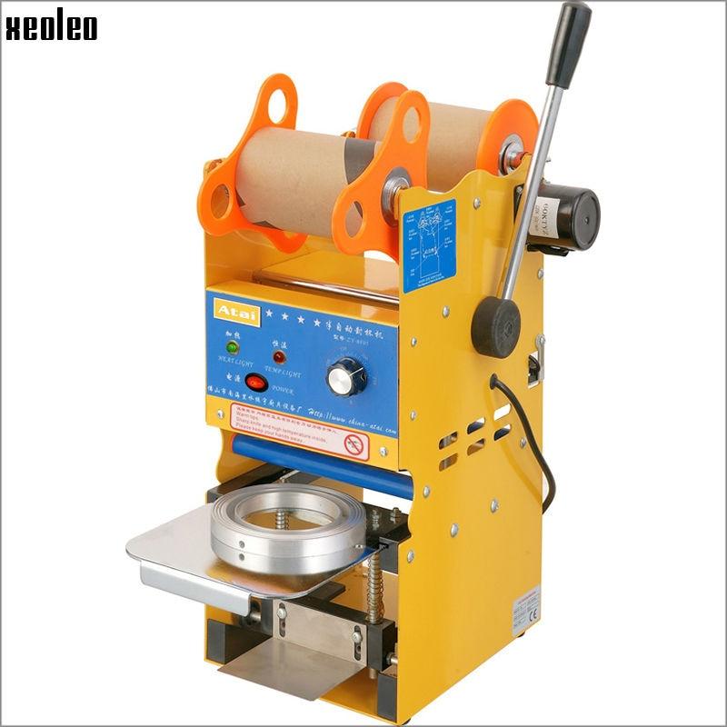 Xeoleo полуавтомат чашки уплотнитель Bubble tea машина Кубок запайки для 9/9. 5 см Бумага/PE чашка с Температура отрегулировать США/ЕС/Великобритания