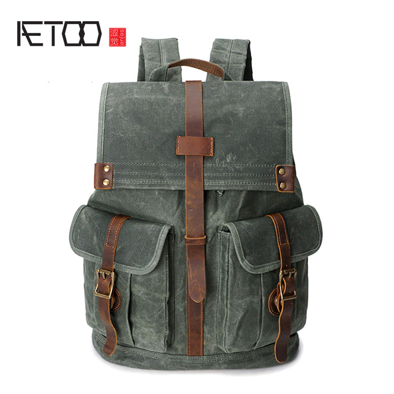 Backpack  Oil Wax Canvas Backpack Shoulder Retro Travel Bag Waterproof Travel Backpack