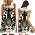 New Arrival Women's Summer Sleeveless Tiger Head Digital Print Round Neck Mini Loose Dress