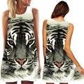 Nova chegada cabeça do tigre de impressão digital de verão sem mangas das mulheres em torno do pescoço mini solto dress