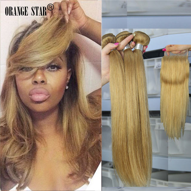 Honey Blonde Brazilian Hair Weave Straight 3bundles With Lace
