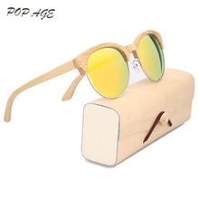Half Metal Round Bamboo Sunglasses Orange Lenses Eye Color Polarized Women Round