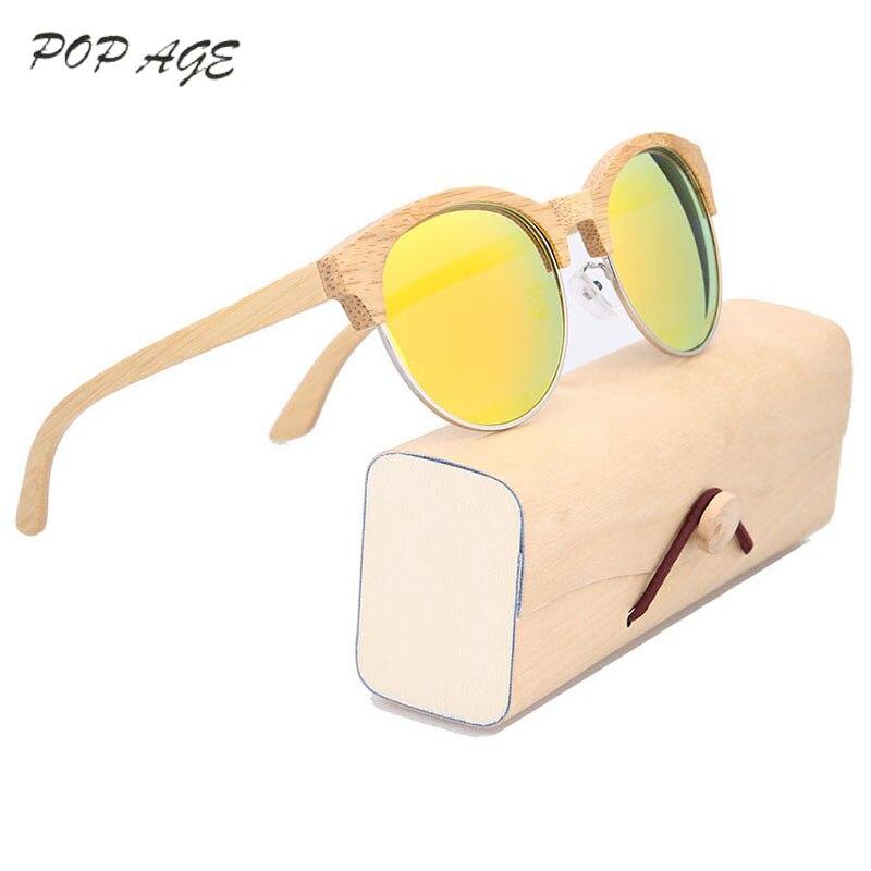 Metade da pena do Metal Rodada Óculos De Sol De Bambu Laranja Mulheres Rodada Óculos De Sol De Madeira Polarizada Óculos Polarizados Lentes Cor Dos Olhos Lentes de sol