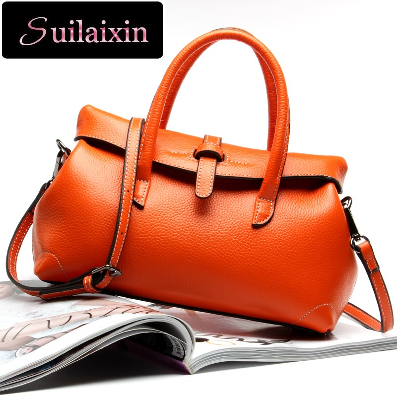 SUILAIXIN Women Designer Genuine Leather Handbags Vintage Ladies Large Boston Ba