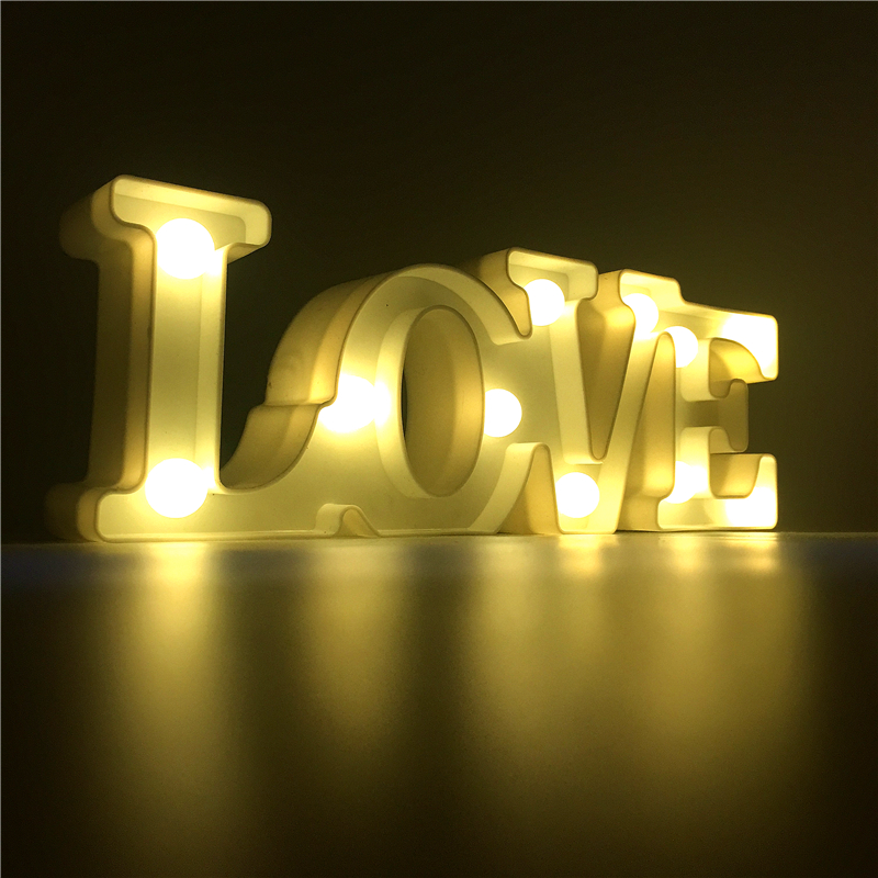 Hot Sale Romantic 3d Led Love Sign Luminaria Night Light Battery