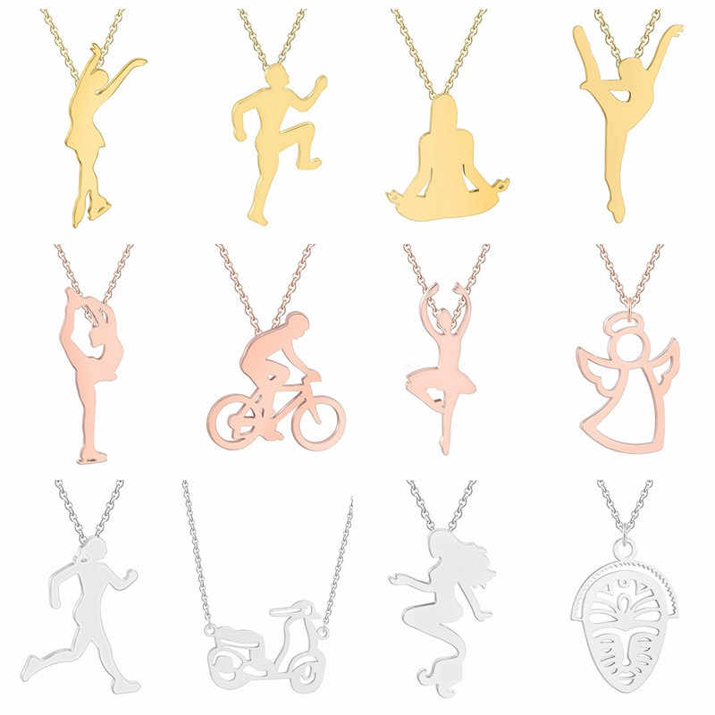 Stainless Steel Sports Jewelry Figure Yoga Necklaces Dancer Run Ballerina Silver Gold Women Necklace Female Birthday Gift