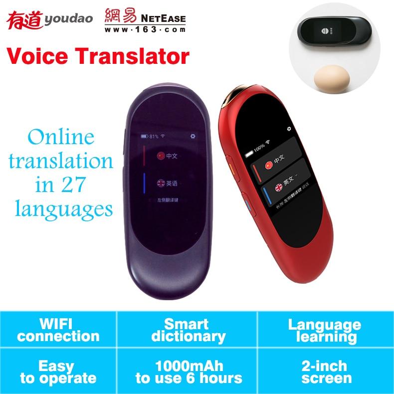 Voice translator mini simultaneous translation 2.0 screen Professional smart interpreter 27 language Translation with wifi