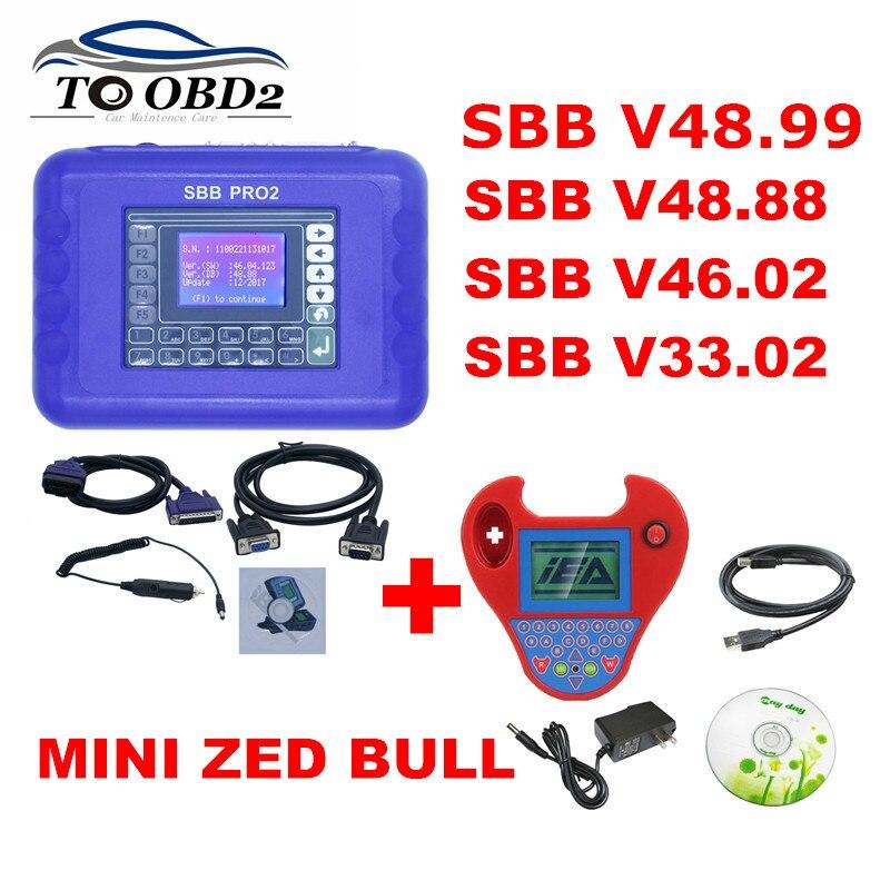 2019 SBB Pro2 V48.88 V48.99 V33.02 V46.02+ Mini Zedbull Auto Key Programmer SBB 48.88 48.99 Version Zed Bull OBD2 Key Maker