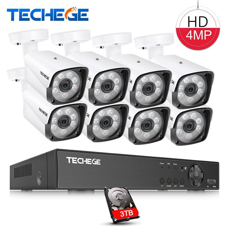 Techege 4MP CCTV системы 8CH DVR 1080 P К 2 к видео выход 4MP Металл водостойкий открытый AHD CCTV камера XMeye удаленного просмотра
