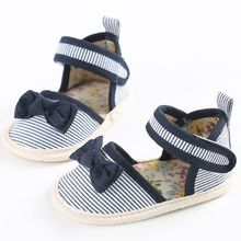 2017 High Quality Hot Selling  New Baby Girls Shoes Summer stripe Bow cotton Toddler  Princess Soft Sole 0-18M