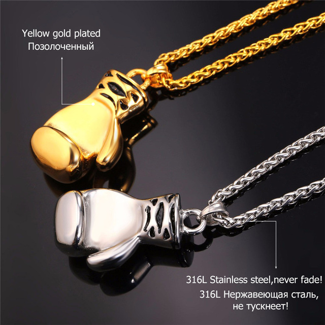 Boxing Glove Necklaces & Pendants Gold Color Stainless Steel Fitness Sport Men Jewelry