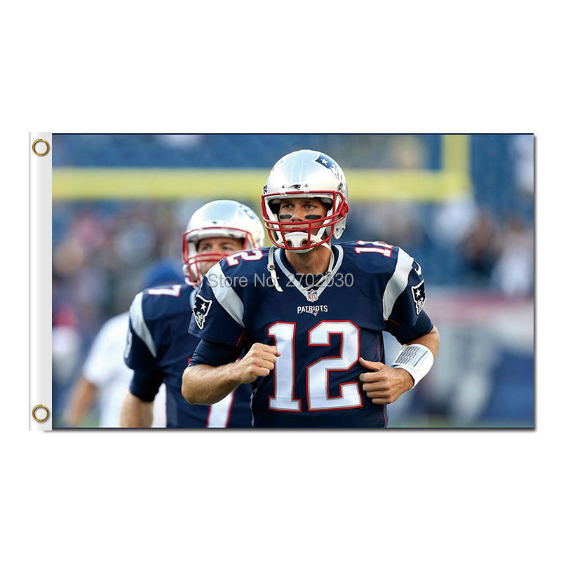 Tom Brady New England Patriots Flag Gillette Stadium Football Banners 3ft X 5ft Banner World Series Super Bowl Champions Flag