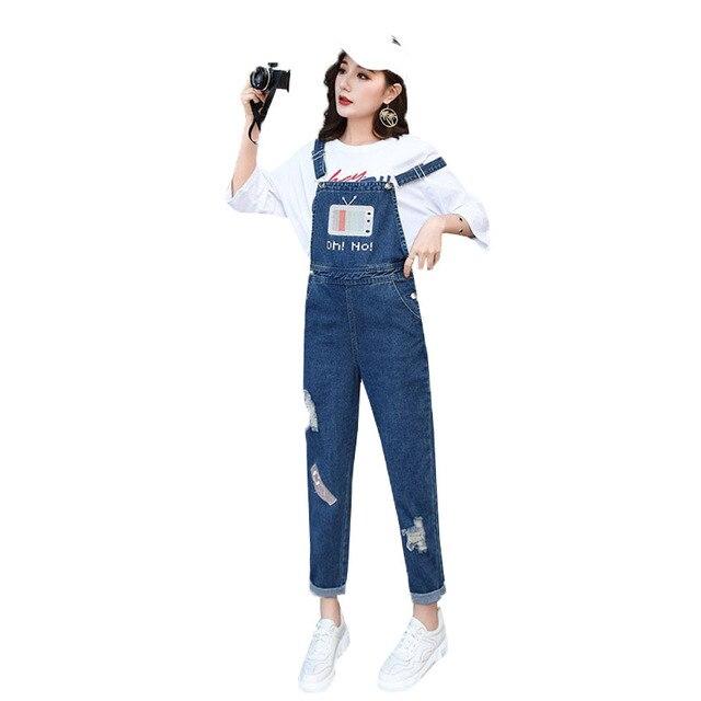 san francisco ce247 66628 2019 frühling Mode Zerrissenen Jeans Overalls Damen lange Hosen Casual  Frauen Strampler bib overalls Hosenträger Denim overall YH123