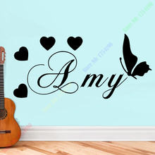 Personalised Boys or Girls Name With Hearts and butterfly Wall Stickers Girly Decal Vinyl Mural 27x58cm