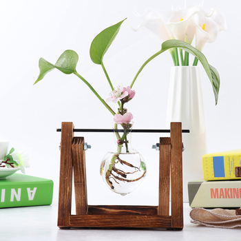 Terrarium Creative Hydroponic Plant Transparent Vase Wooden Frame Vase Decoratio Glass Tabletop Plant Bonsai Decor Flower Vase transparent tabletop glass vase mini crystal hydroponic container terrarium plant flower pot vase home office wedding decor