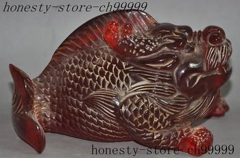 christmas china fengshui Artificial Amber animal dragon head fish body Scleropage statue halloween