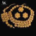 Fina Flor Grande Pendiente Del Collar de la India Joyería de Oro Verdadero Plateado de la Boda de Nigeria Perlas Africanas Sistemas de La Joyería Del Partido Para Las Mujeres