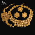Fine Big Flower Earring Necklace Set India Jewelry Real Gold Plated Nigerian Wedding African Beads Jewelry Sets Party For Women