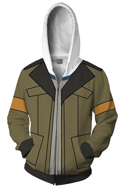 Voltron: Defender of the Universe Hoodie Blue Lion Rance Hoodies 3D Printed Zipper Up Hooded Adult Men Casual Sweatshirts