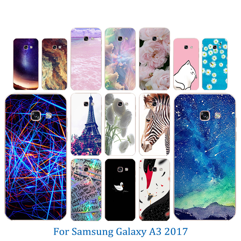 Pinky Pattern Case for Samsung A3 2017 Cases Soft Silicone Phone Cover Fundas for A3 A320 A320F Coque Colorful Shells