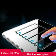 Tap the switch at any point Type 86 Black Mirror Glass 4Gang 1Way 2Way Wall Switch Panel with led fluorescent все цены