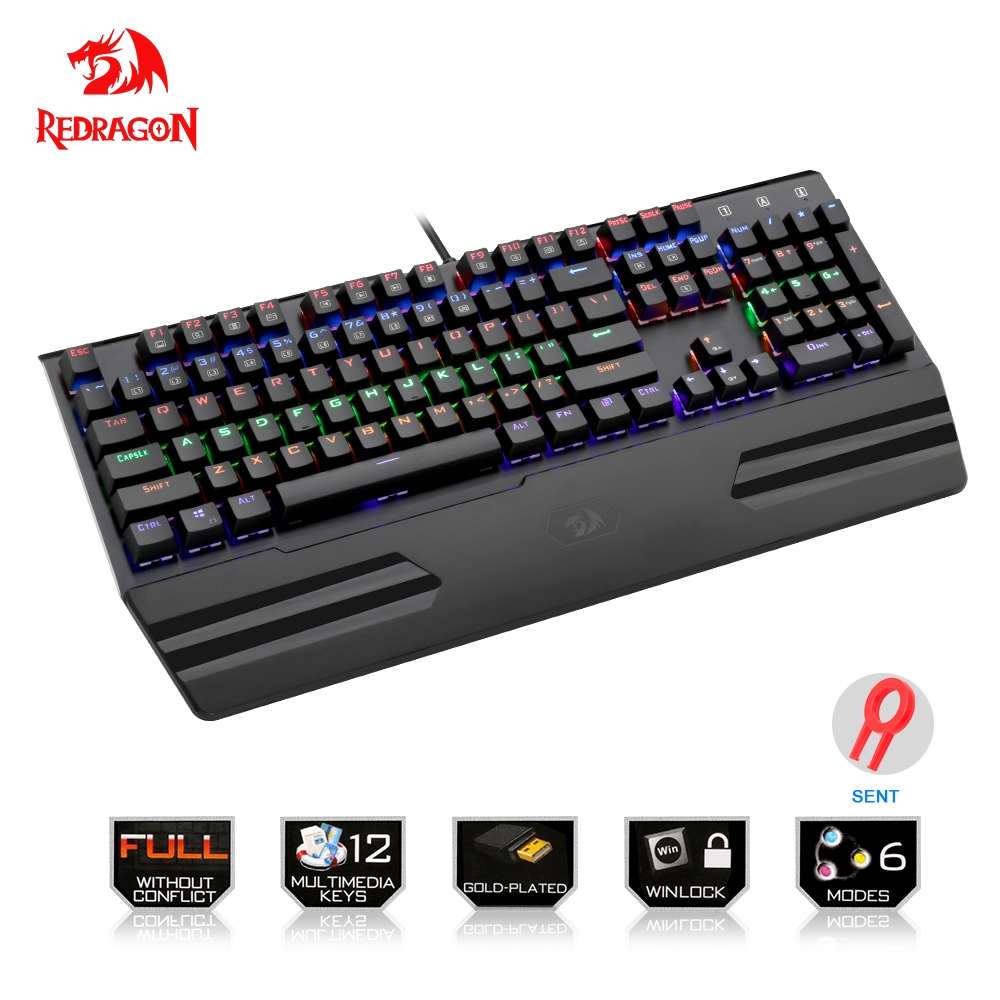 все цены на Redragon Gaming Rainbow mechanical keyboard Rainbow LED backlit Full key anti-ghosting 104 keys USB wired For PC Computer Game онлайн